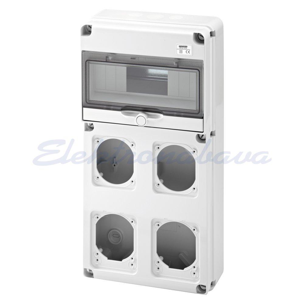Slika izdelkaGradbiščna omarica GEWISS 68 Prazna 10M DIN 2x16A, 2x16/32A IP44/67 435mm 220mm 96mm