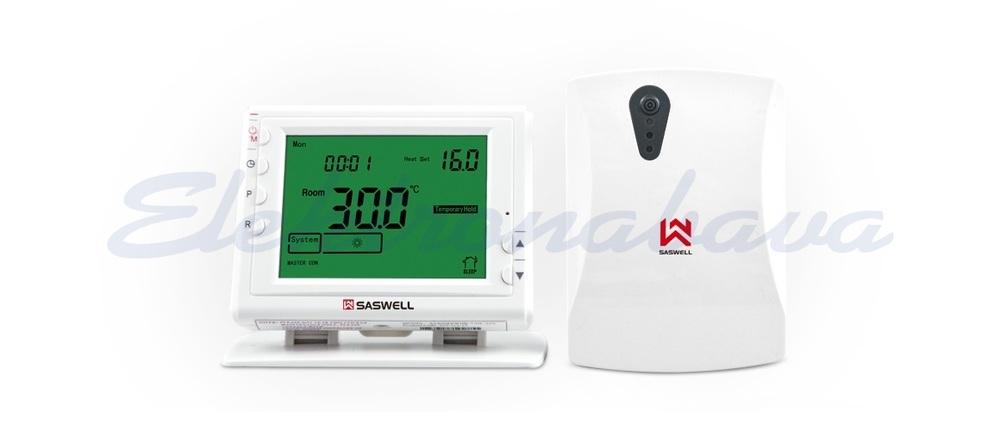 Slika izdelkaSobni termostat SASWELL brezžični N/O prenosni digitalni tedenski BE 5-35ST.C