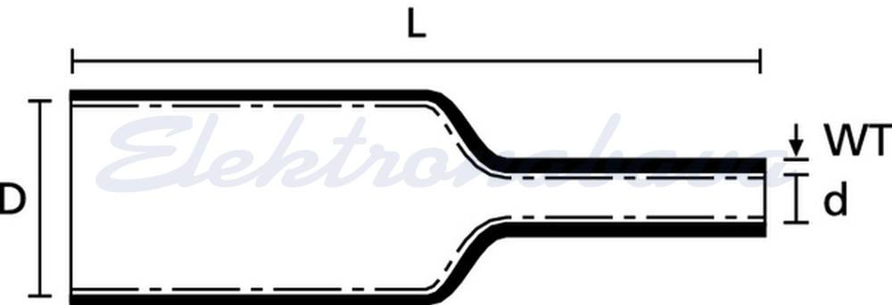 Toplotno skrčljiva cev Hellermanntyton 4:1 MA47-30/8 30mm 8mm 1m srednja-stensko ČR -55ST.C 04:01 z lepilom