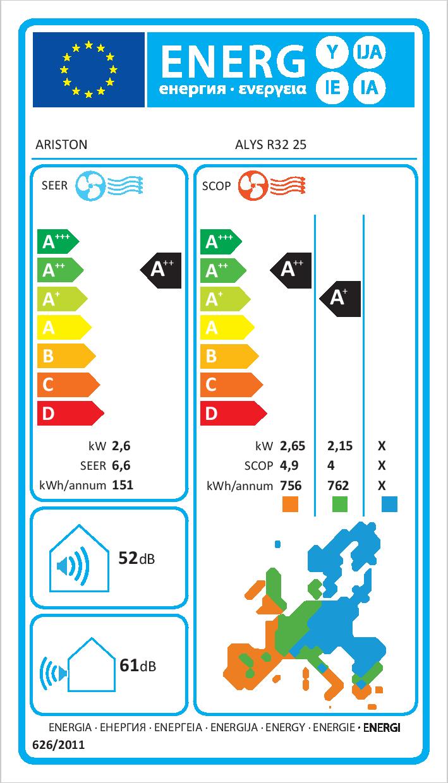 Zunanja enota klime ARISTON ALYS R32 A++ / A+ 2,5kW