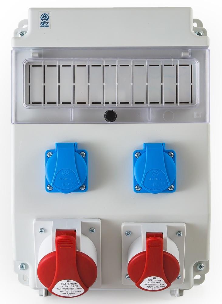Gradbiščna omarica SEZ S PROMOCIJSKIM IZVIJAČEM Polna 11M DIN 1x5P32A,1x5P16A,2xŠ IP54 343mm 241mm 163mm