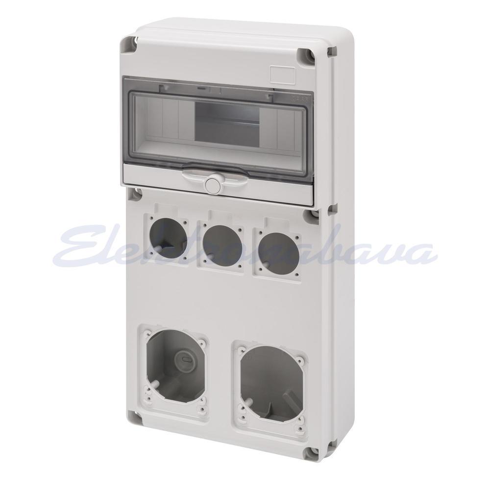 Slika izdelkaGradbiščna omarica GEWISS 68 Prazna 10M DIN 2x16/32A 3x50mm IP44/67 220mm 435mm 96mm