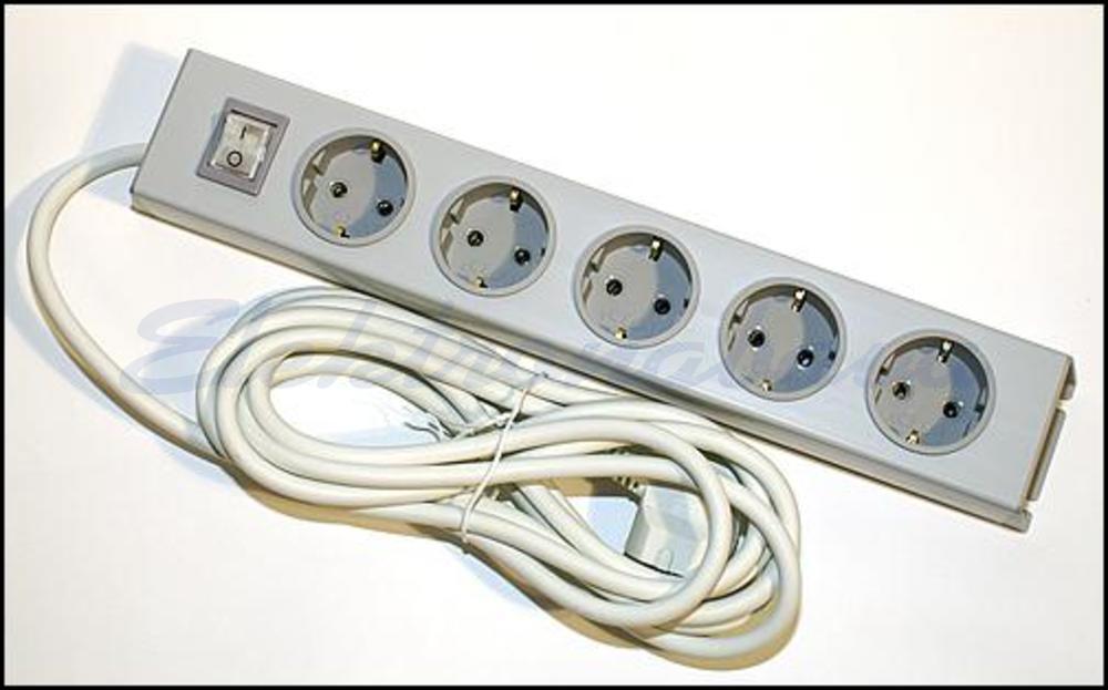 Slika izdelkaElektro podaljšek Euro M 5 2m 1,5mm2 SI S stikalom brez prenap.zašč.