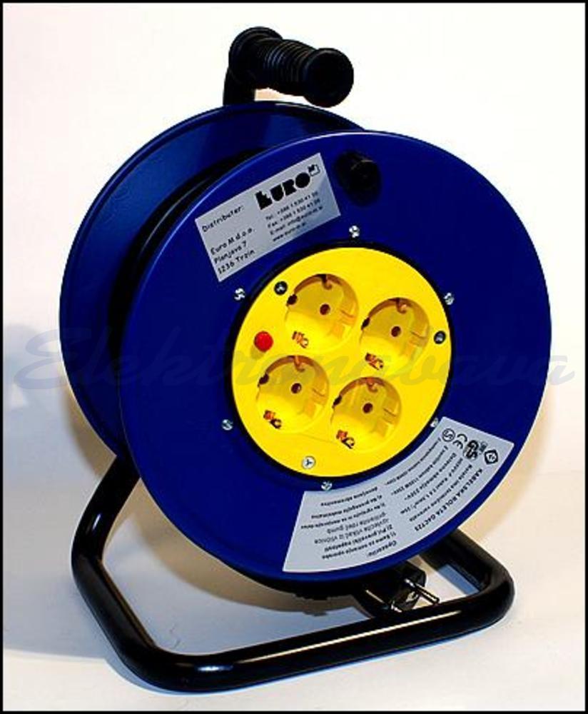 Slika izdelkaKabelska roleta Euro M H05VV-F 1,5mm2 25m kovina 4 IP20